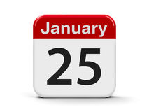 25th January. Calendar web button - The Twenty Fifth of January, three-dimensional rendering, 3D illustration Stock Photo