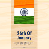 26th of January, Happy Republic Day celebration. 26th of January, Happy Republic Day celebration poster, banner or flyer with national flag and Ashoka Wheel Royalty Free Stock Photography
