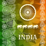 26th of January India Republic Day. Greeting card with paisley ornament Royalty Free Stock Photo