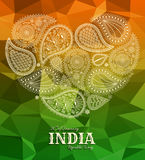 26th of January India Republic Day. Greeting card with paisley ornament Royalty Free Stock Image
