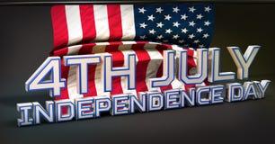 4th Juli amerikansk självständighetsdagen 3D stock illustrationer