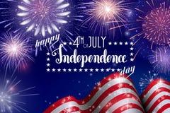 4th Juli, amerikansk självständighetsdagenberömbakgrund med brandfyrverkerier Lyckönskan på fjärdedel av Juli Arkivfoton