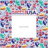 4th Juli, amerikansk självständighetsdagenmall Arkivbild