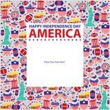 4th Juli, amerikansk självständighetsdagenmall Royaltyfri Foto