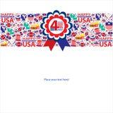 4th Juli, amerikansk självständighetsdagenmall Royaltyfria Foton