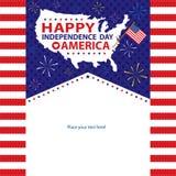 4th Juli, amerikanska självständighetsdagenmallar Arkivbilder