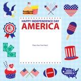 4th Juli, amerikanska självständighetsdagenmallar Arkivfoto