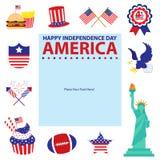4th Juli, amerikanska självständighetsdagenmallar Royaltyfria Bilder