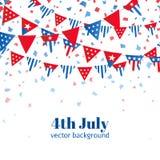 4th Juli, amerikanskt kort för självständighetsdagenberömhälsning med bunting i nationsflaggafärg Arkivbilder