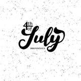 4th juli Bakgrund för kalligrafi för USA självständighetsdagenberöm stock illustrationer