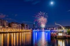 14th Juli fyrverkerier i Liège Fotografering för Bildbyråer