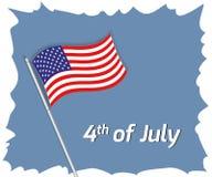 4th Juli hälsningkort Royaltyfri Fotografi