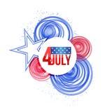 4th juli illustration för flagga för USA-cirkelmålarfärg Arkivbild