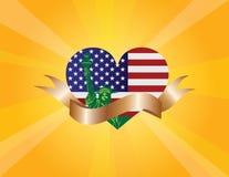4th Juli Liberty Heart och bandsnirkelillustration stock illustrationer