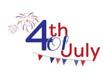 4th juli röd och blå logo Arkivfoto