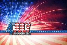 4th Juli - Retro kort för självständighetsdagen Royaltyfri Fotografi