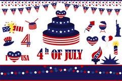 4th Juli, självständighetsdagen av Förenta staterna Arkivfoto