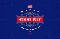 4th Juli, självständighetsdagen - hälsningdesign med dekorativa ramar för krusidullar stock illustrationer