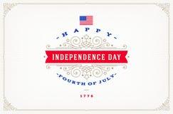 4th Juli, självständighetsdagen - hälsningdesign med dekorativa ramar för krusidullar vektor illustrationer