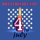 4th Juli självständighetsdagenAmerikas förenta stater En affischdepi Royaltyfri Bild