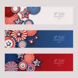 4th Juli, USA självständighetsdagenbaner med pappers- stjärnor i USA flaggan färgar Feriebakgrundsuppsättning royaltyfri illustrationer