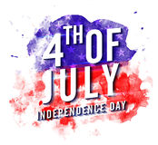 4th of July on abstract brush strokes decorated background. Creative Poster, Banner or Flyer design for American Independence Day celebration Stock Image
