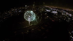 4th of July aerial video. Aerial video of 4th of July Fireworks celebration in Aventura FL USA stock footage