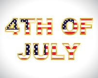 The 4th of July. American flag pattern filled text art 4th of July stock illustration