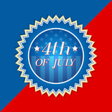 4th of July with american flag - retro label. 4th of July with american flag - retro style blue red label with text and stars, usa independence concept Royalty Free Stock Photography