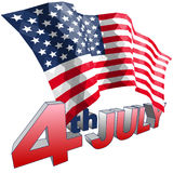 4th July and American flag in triangular style isolated. Royalty Free Stock Images