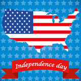 4th of July. The american geography with its flag and a red ribbon Royalty Free Illustration
