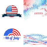 4th of july american independence day background set Stock Images