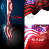 4th of july american independence day background set. Vector set of 4th july american independence day background with wave and american flag Stock Photos