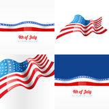 4th july american independence day background. Vector 4th july american independence day background with american flag Royalty Free Stock Images