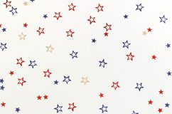 4th of July American Independence Day blue and red stars decorations on white background. Flat lay, top view, copy space.Red and blue stars border for American vector illustration