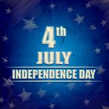 4th of July - American Independence Day - blue retro banner. 4th of July - American Independence Day - retro style banner with text and striped stars over blue vector illustration