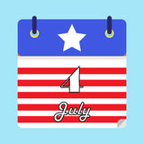 4th of July American Independence day calendar date. Blue, white, red. Stars and stripes. Preppy. EPS file available royalty free illustration