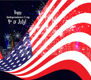 4th of July, American Independence Day celebration background with fireworks.  Royalty Free Stock Photography