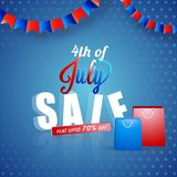 4th of July, American Independence Day celebration concept with. Bunting flags and shopping bags on blue background Stock Photo