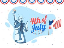 4th of July, American Independence Day celebration concept with. Statue of Liberty, national flag, on bunting decoration background Stock Image