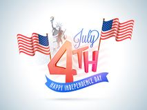 4th of July, American Independence Day celebration concept with. Waving flags, statue of liberty stock illustration