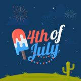 4th of July, American Independence Day concept with stylish text. An ice cream in national flag colours on fireworks night background Royalty Free Stock Photography