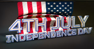 4th July American Independence Day 3D. Dark Background Royalty Free Stock Photo