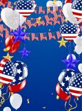 4th of July American Independence Day decorations on blue backgr. Ound Stock Illustration