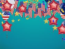 4th of July American Independence Day decorations on blue backgr. Ound Royalty Free Illustration