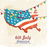 4th of july American independence day. Greeting card with flag and U.S. map. Vector illustration in vintage style. Retro poster Royalty Free Stock Photo