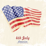 4th of july American independence day. Greeting card with flag. Vector illustration in vintage style. Retro poster Royalty Free Stock Photo