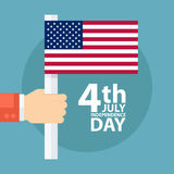 4th of july American independence day greeting card with male hand holding american flag. Vector illustration Stock Images
