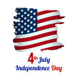 4th of July, American Independence Day grungy wave in national f. Lag colors on white background. vector Royalty Free Stock Photos