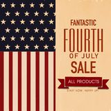 4th of July, American Independence Day Sale Flyer Design. Blue background with stars stock illustration
